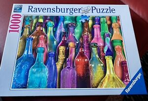 RAVENSBURGER-1000-pc-jigsaw-puzzle-Colorful-Bottles-Excellent-Used