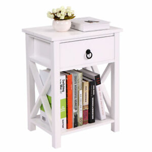 Wood-White-Sofa-End-Side-Bedside-Table-Nightstand-W-Drawer-Storage-Shelf-Bedroom