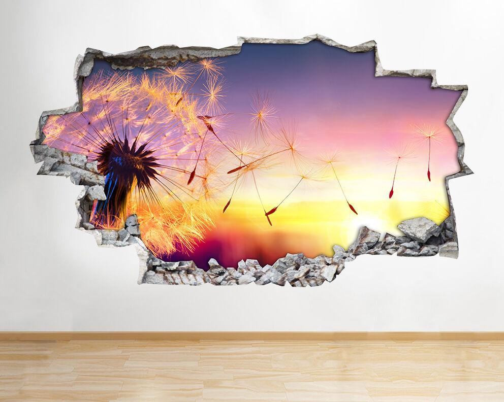 H567 pissenlit Nature Plantes Blow Smashed Autocollant Chambre 3D Vinyle enfants