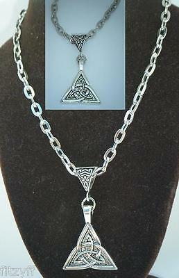 """20"""" or 24"""" Inch Necklace & Celtic Knot Triangle Trinity Charm Pendant Triquetra"""