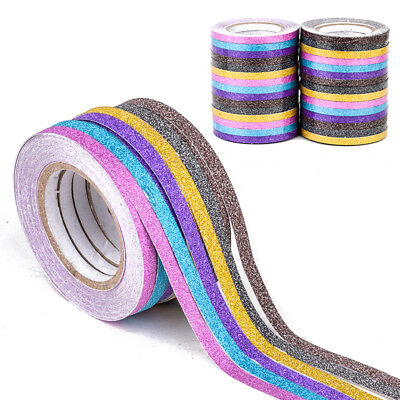 6/12 Rolls Glitter Washi Tape Paper Set 5mm x 6.5m Scrapbooking Masking Tapes
