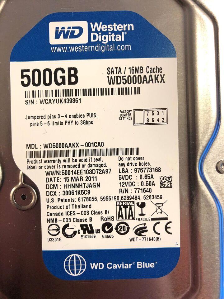 Western Digital Blue, 500 GB, God