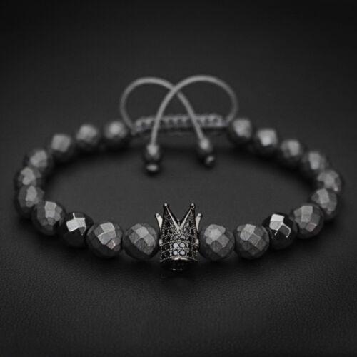 Hommes Femmes Noir Zircon Couronne Gemme Charme Macrame Bracelet Roi et Reine