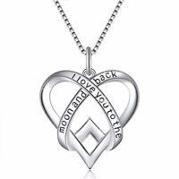 European Love Heart Silver Charms Pendant Necklace Chain Luxury Women's Jewelry