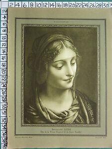 C1930 Francese Stampa L'Illustrazione ~ Testa Di la Vergine ~ Bernardino Luini