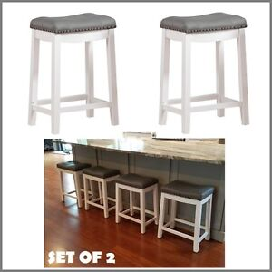 Set Of 2 White Gray Bar Stools 24h Chrome Nailhead Leather Cushion