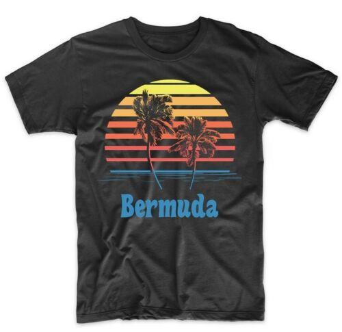 Retro Style Bermuda Sunset Palm Trees Beach Vacation T-Shirt