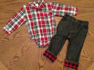 Gymboree-Plaid-Shirt-amp-Jeans-Boys-18-24-months-snap-elastic-waist-pants-cotton