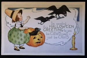 Whitney-HALLOWEEN-Postcard-Young-Girl-Witch-Crows-Flying-out-of-JOL-Pumpkin-s759