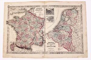 Large Scale Map Of France.1864 France Belgium Map Paris Amsterdam Railroad Routes Large