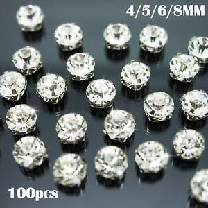 Sew-on-Crystal-Clear-Glass-Diamante-Claw-Set-Rhinestones-Silver-Setting-Glass