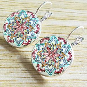 Vintage-Old-Time-Gemstone-Earrings-Bohemia-Glass-Gem-Ear-Studs-Pendant-Jewelry
