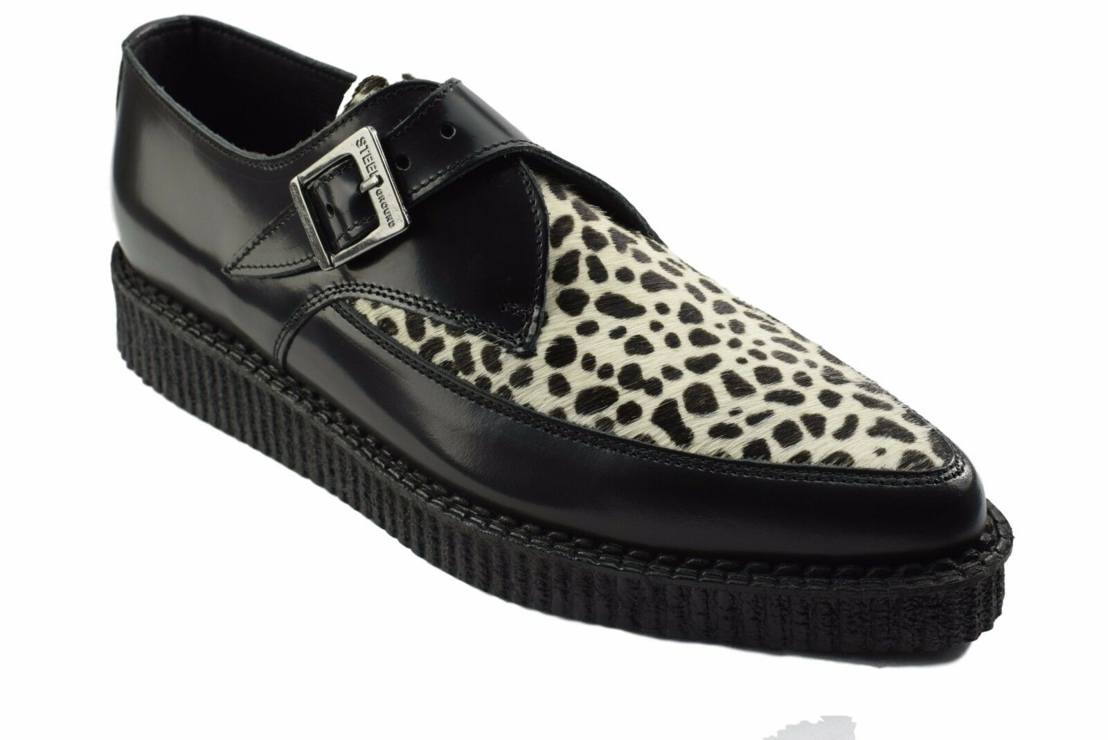 Steel Ground Schuhes schwarz Leder WEISS Leopard Creepers Monk Buckle Pointed