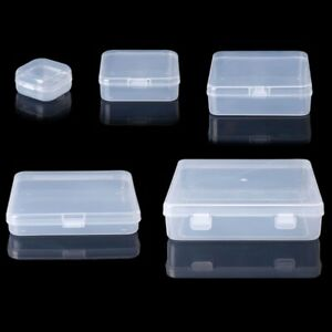 Transparent Square Plastic Jewelry Storage Boxes Beads Crafts Case