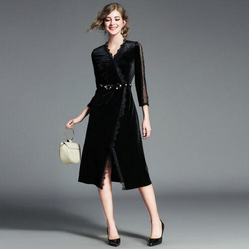 62a1bf17ac6a Moda Vestito Donna Abito Nero Elegante Manica Velluto Scampanato 4781 Corto  AwwvOpHqx0