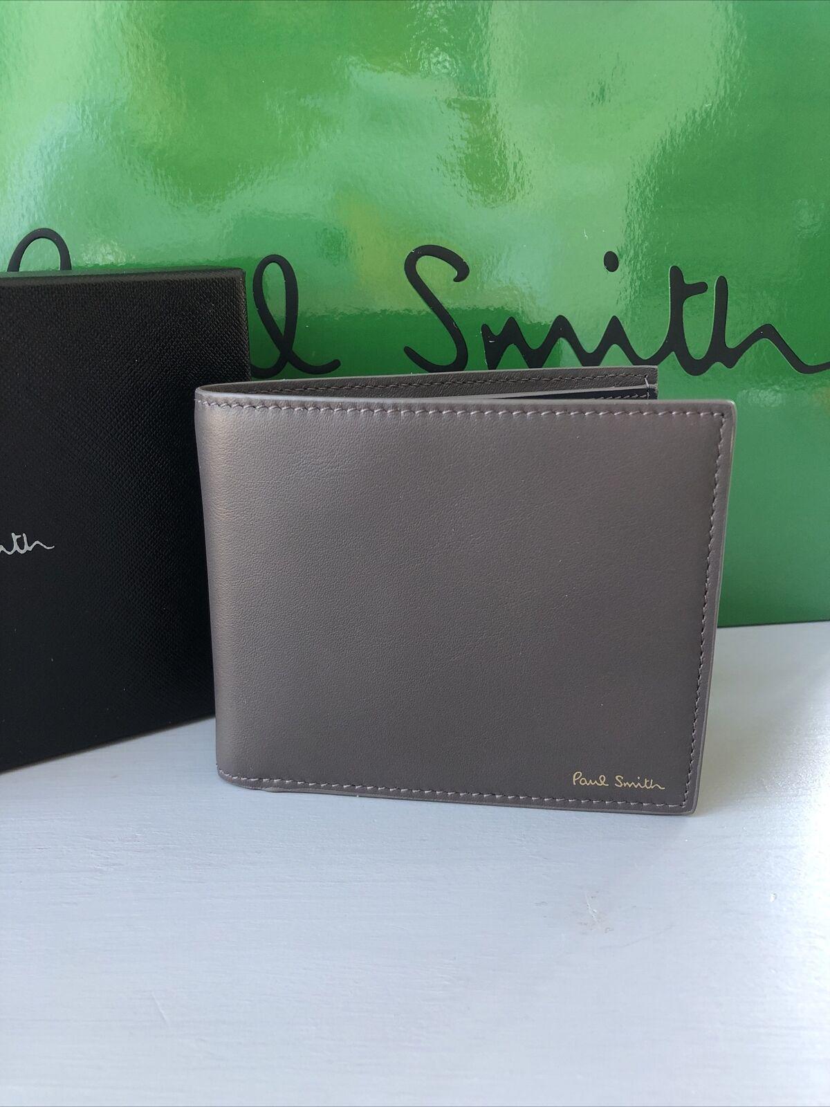 Designer Paul Smith Men Calf Leather Grey/Navy Billfold Wallet BNIB