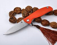 Shirogorov F3 orange handle hunting knife line lock 440 blade sanding surface