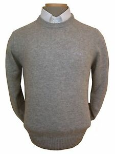 Sweater-Men-039-s-S-Wool-Blend-Crewneck-Gray-Imported-From-Italy