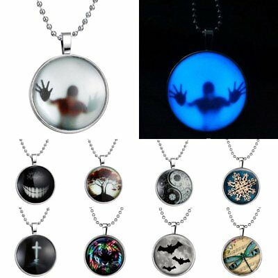 Mens necklace Glow In The Dark Jewelry White Tiger Necklace Glass Dome Cabochon Pendant Silver Metal Chain Glowing Necklace