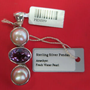 Starborn Creations Sterling Silver w/Amethyst & Fresh Water Pearl Pendant PEMS59
