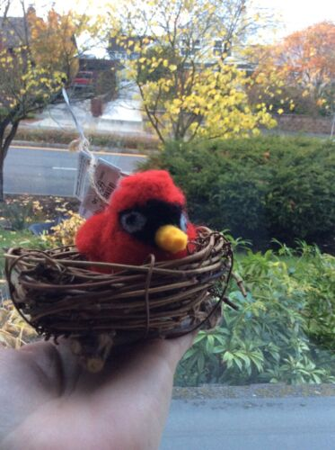 Pottery Barn Felt Bird In Twig Nest Holiday Christmas ORNAMENT NEW NWT