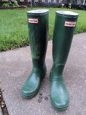 Hunter Original Tall Rubber Rain Boots Matt Green  Women's 6 M