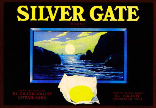 El Cajon San Diego California Silver Gate Lemon Citrus Fruit Crate Label Print