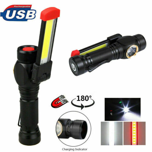 Magnetic COB LED Work Light USB Rechargeable Flod Flashlight Outdoor Torch Lamp