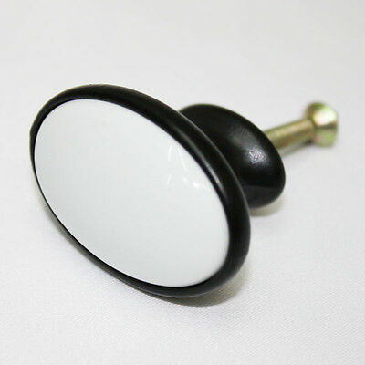 Black White Ceramic 41mm Knob Furniture Dresser Drawer Kitchen Pulls. AAE-25