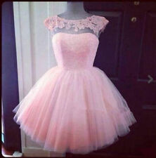 Short Pink Cocktail Homecoming Graduation Evening Dress Pageant Party Prom Gown