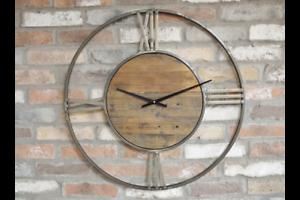 70cm-Large-Skeleton-Edge-Distressed-Gold-Grey-Metal-amp-Wooden-Circular-Wall-Clock