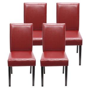 4x Esszimmerstuhl Stuhl Lehnstuhl Littau Kunstleder, rot dunkle Beine
