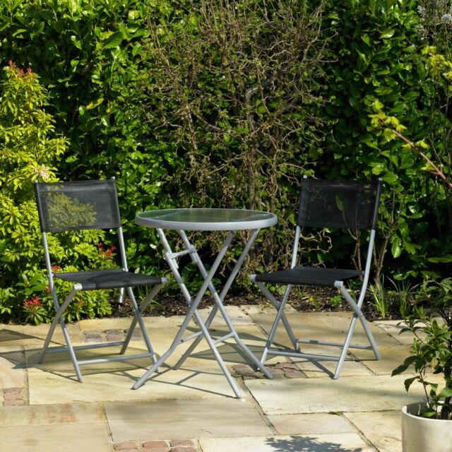 Black 3 piece garden table chair chairs set bistro outdoor patio garden patio black bistro set outdoor dining set 3pc 2 seater folding chairs watchthetrailerfo