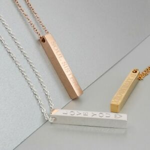 Sterling Silver Personalized 4 Sided Vertical Bar Necklace Custom Made Any Name Pendant