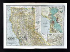 1902 Century Map Northern California San Francisco Yosemite Valley on
