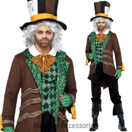 CL956 Classic Mens Mad Hatter Costume Alice In Wonderland Halloween Party Outfit