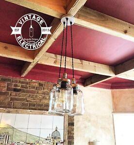 3-X-HANGING-KILNER-MASON-JAM-JAR-LIGHTS-CLUSTER-CEILING-CAFE-E27-TABLE-LAMPS
