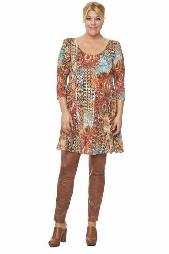 Damen Tunika A-Linie MAGNA Longshirt Kleid Orient Print 42 44 46 48 50 52 54 56