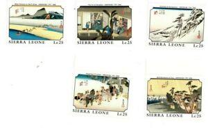 VINTAGE-CLASSICS-Sierra-Leone-1098-1127-Japanese-Art-Set-Of-5-MNH