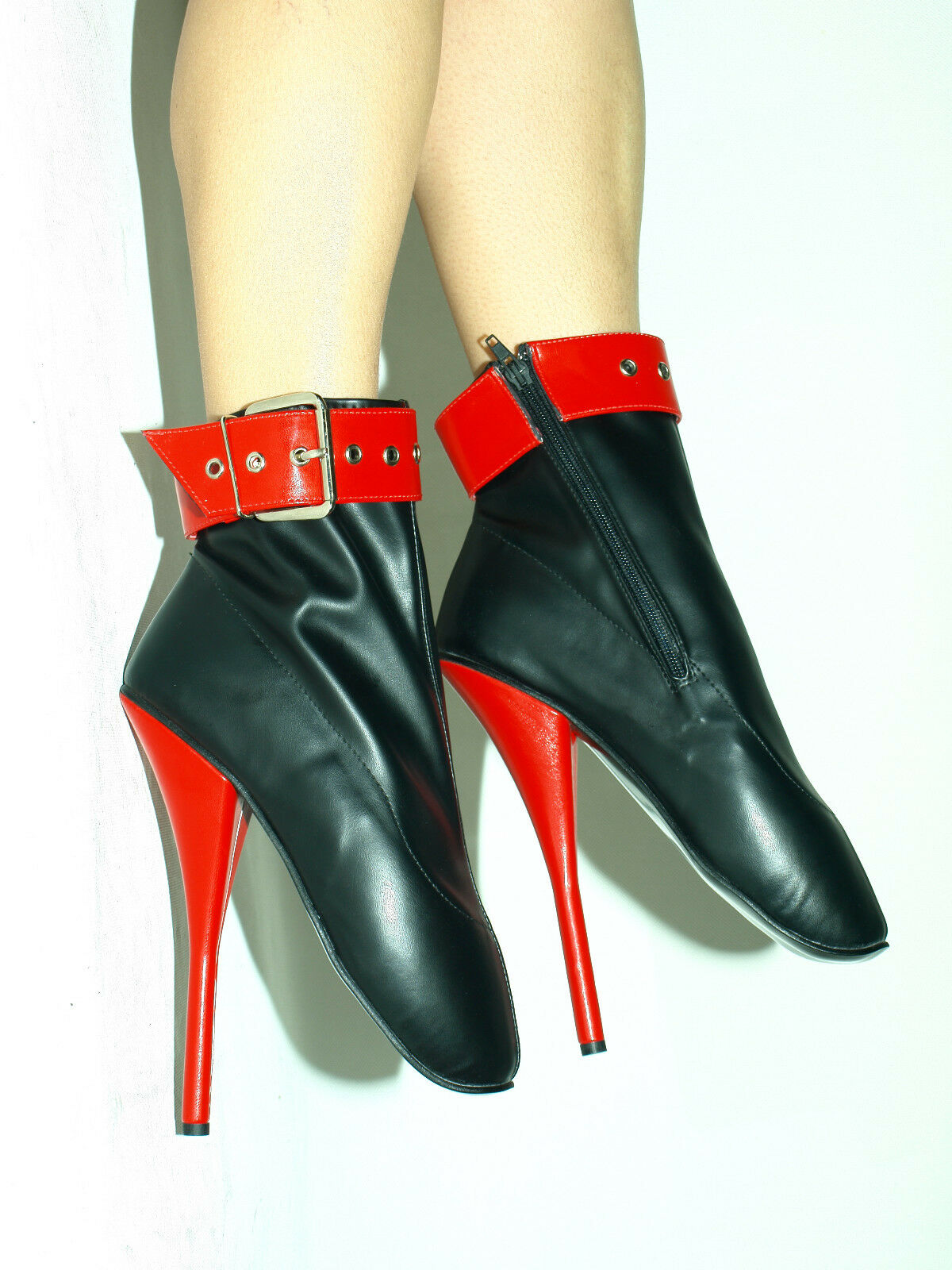 BLACK-ROT IMITATION IMITATION BLACK-ROT LEATHER BALLET Stiefel SIZE 7-12- HEELS-8,5