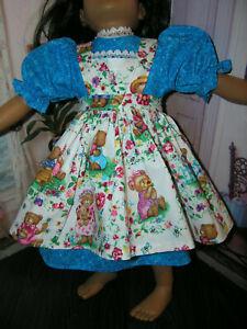 Aqua-Dress-Teddy-Bear-Print-Apron-2-piece-Dress-23-034-Doll-clothes-fits-My-Twinn