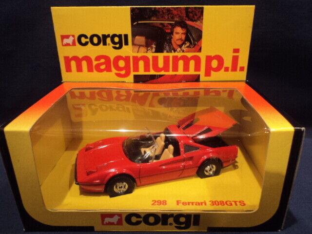 Corgi década de 1980 Raro Magnum P.i. Ferrari 308 GTS no  298 como nuevo Ex Tienda Stock