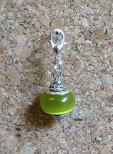 LOVELY 925 SILVER CORE MURANO GLASS BEAD TIBETAN SILVER CLIP ON CHARM GREEN j