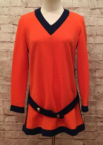 Vintage 60's SACONY Pant Suit Tunic Orange 8 Poly… - image 1