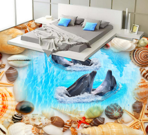 3D Cute Shell Dolphin 55 Floor WallPaper Murals Wall Print Decal AJ WALLPAPER