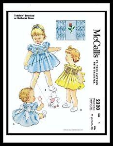 McCall-039-s-2320-Pattern-Girls-Smocked-DRESS-Frock-SUNDRESS-BABY-Pick-1-2-6Mth