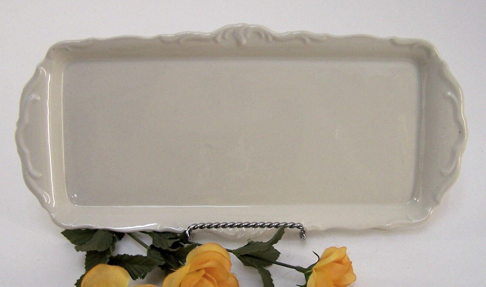 Serviceplatte Roloff Porzellan Teller Platte uni mit Verziehrung Vintage   Angenehmes Gefühl