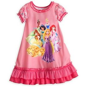 5f7b79776e Image is loading Disney-Store-Princess-Deluxe-Ruffled-NightGown-Pink-PJ-