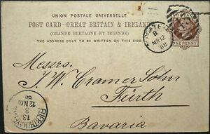 GB 12 MAR 1888 QV 1d POSTAL CARD FROM LONDON TO FURTH