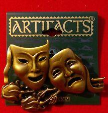 Brz Drama Mask Arts Theater Rose Pin Brooch Artifacts Jonette Jewelry Signed JJ